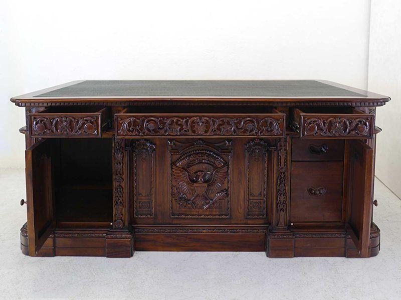 Schreibtisch Präsidenten Schreibtisch Resolut Desk Antik Stil Massivholz (8574)  – Bild 9