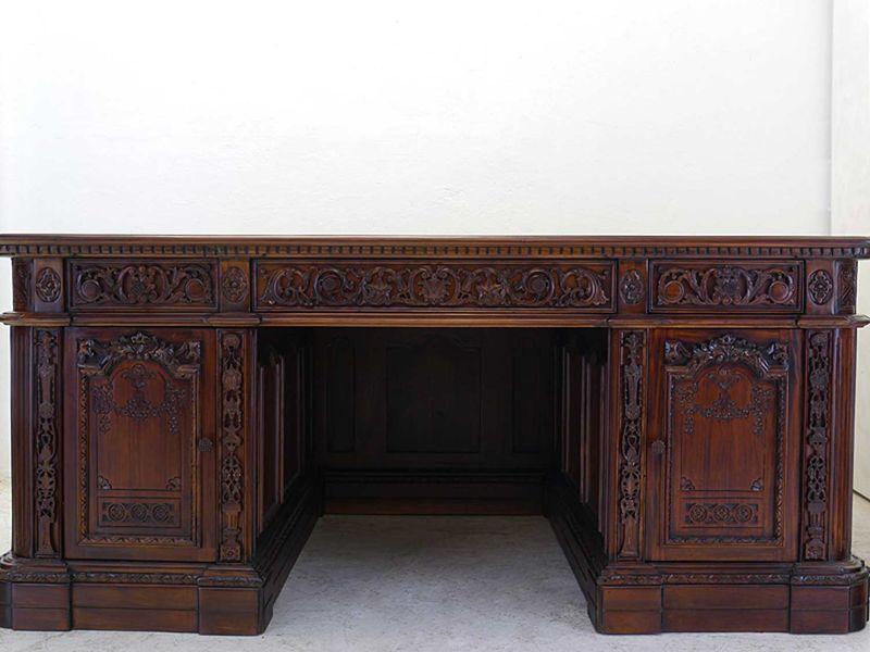 Schreibtisch Präsidenten Schreibtisch Resolut Desk Antik Stil Massivholz (8574)  – Bild 2