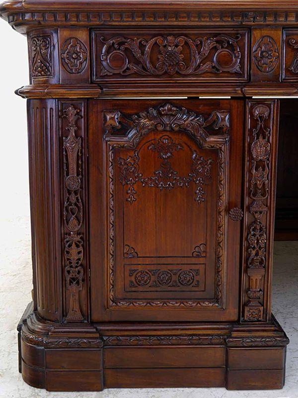 Schreibtisch Präsidenten Schreibtisch Resolut Desk Antik Stil Massivholz (8574)  – Bild 5