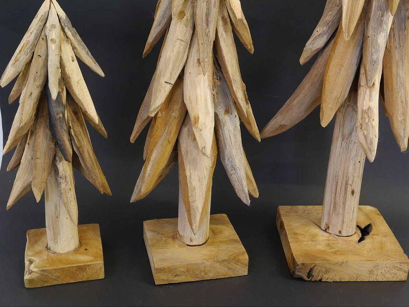 Tannenbaum Weihnachtsbaum Holzskulpturen Wurzelholz Handarbeit 3-er Set (8582) – Bild 2