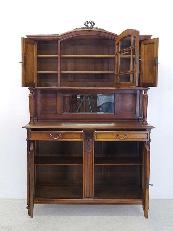 Antikes Buffet Buffetschrank Küchenschrank um 1920 Nussbaum B: 140 cm (8586) – Bild 2