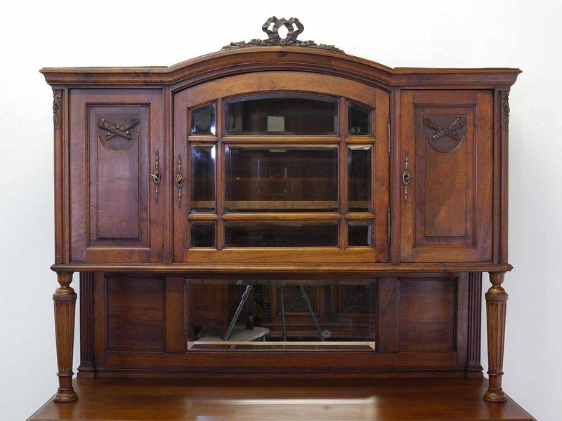 Antikes Buffet Buffetschrank Küchenschrank um 1920 Nussbaum B: 140 cm (8586) – Bild 3