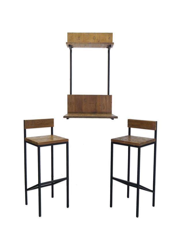 Wandtisch +  2 Barhocker Küchentheke Industrie-Style Metallgestell + Holz (8590) – Bild 1