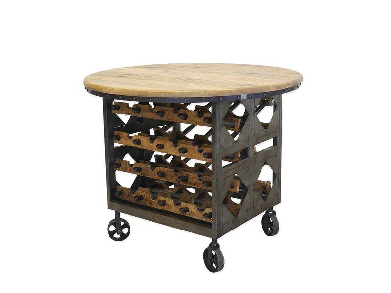Weintisch Weintresen Weinbar Tisch Weinregal rund Industrie Style D:110cm (8612) – Bild 1