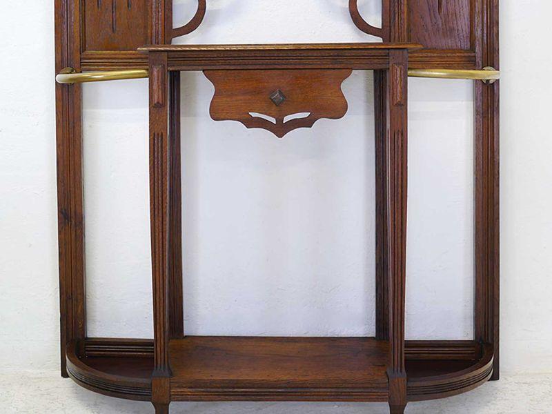 Garderobe Wandgarderobe Flurgarderobe Antik um 1930 aus Eiche massiv (8661) – Bild 6