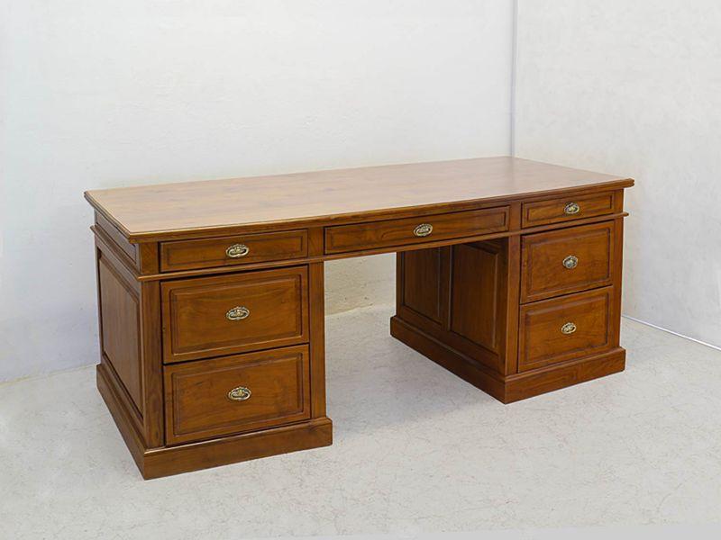 Schreibtisch Büromöbel Schreibmöbel Teakholz Kirschbaum-Farbton B: 206 cm (8668) – Bild 2