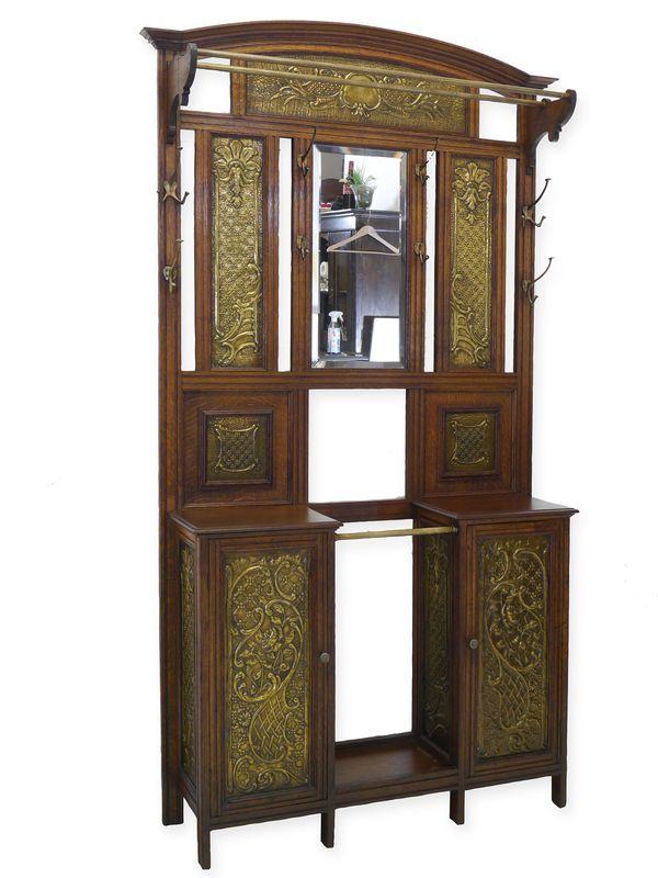 Garderobe Wandgarderobe Flurgarderobe Jugendstil um 1900 Eiche/Messing (8696) – Bild 1