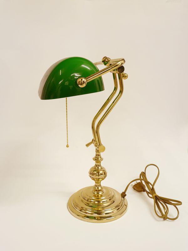 Bankerlampe Bankers Lamp Schreibtischlampe Messing mit grünem Glasschirm (8705) – Bild 2
