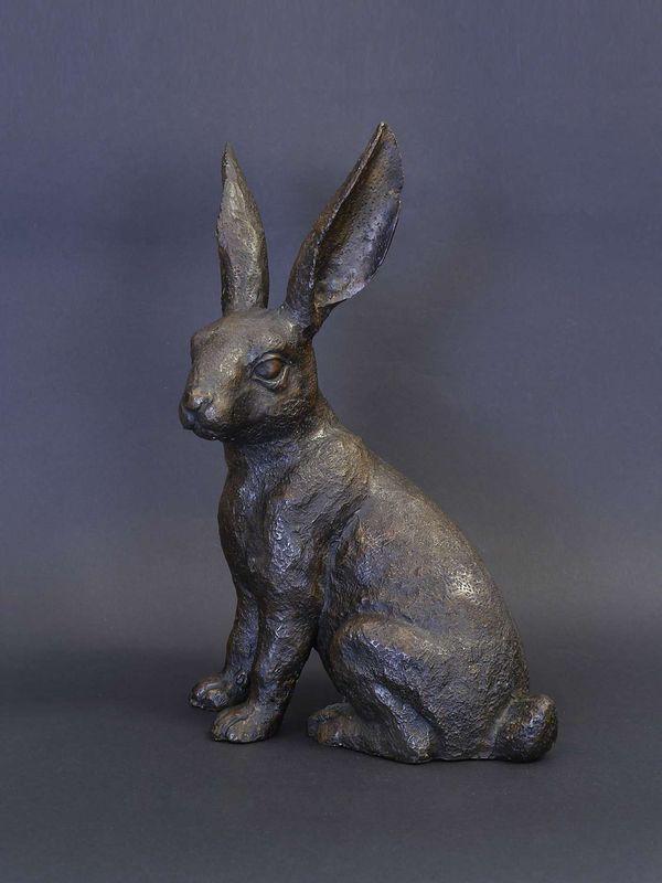 Bronzefigur Tierfigur Skulptur Hase Rabbit aus Bronze H: 30 cm (8725) – Bild 1