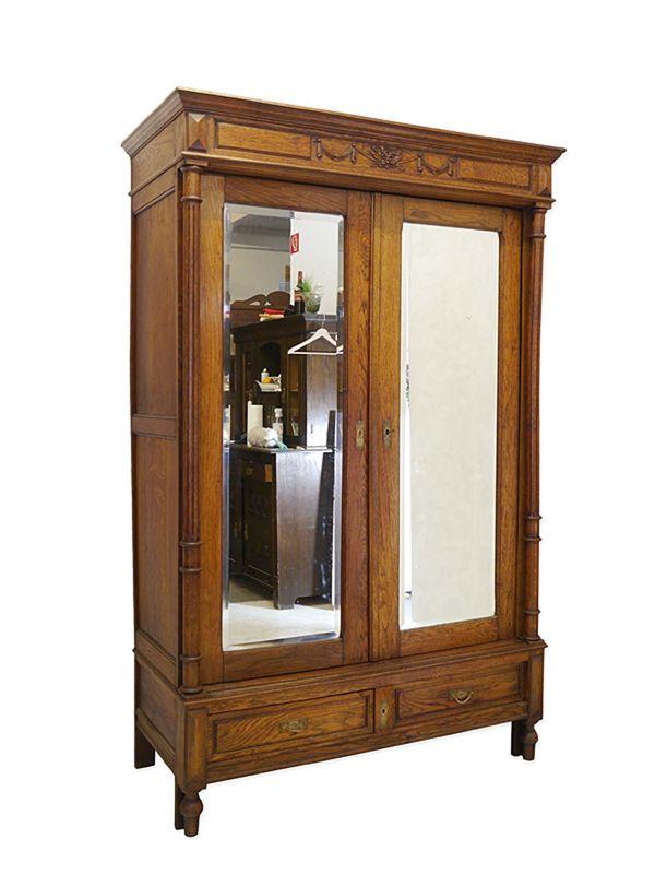 Schrank Kleiderschrank Spiegelschrank Antik um 1880 aus Eiche B: 138 cm (8734) – Bild 1