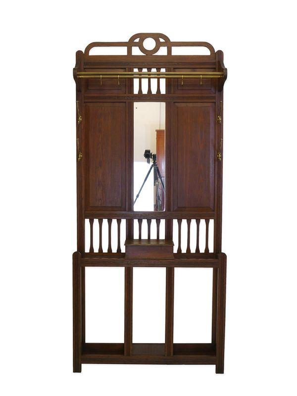 Garderobe Wandgarderobe Flurgarderobe Antik um 1920 aus Eiche B: 93 cm (8746) – Bild 1