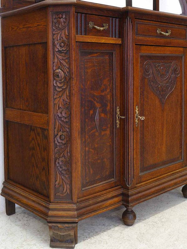 Buffet Küchenschrank Buffetschrank Antik um 1920 Eiche 3-türig B: 130 cm (8786) – Bild 5