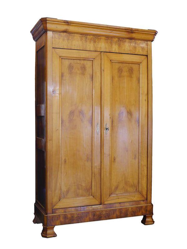 Kleiderschrank Dielenschrank Schrank Biedermeier um 1850 aus Kirschbaum (8802) – Bild 1