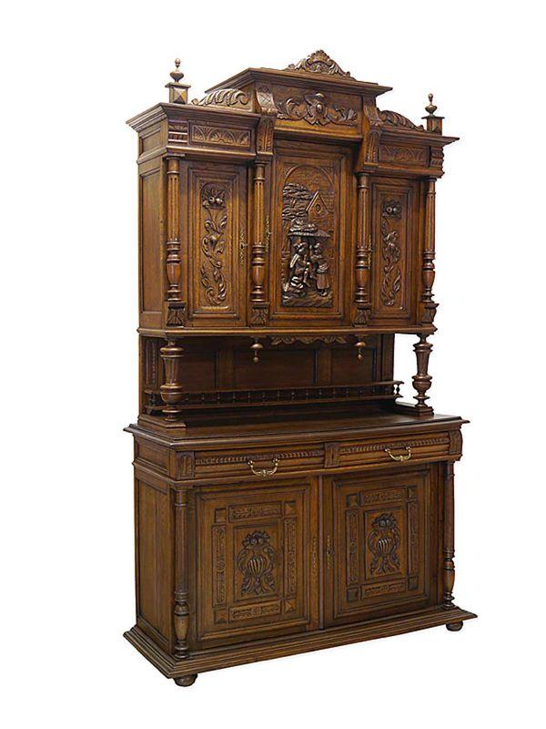 Buffetschrank Schrank Aufsatzschrank Antik um 1900 aus Eiche B: 143 cm (8803) – Bild 1