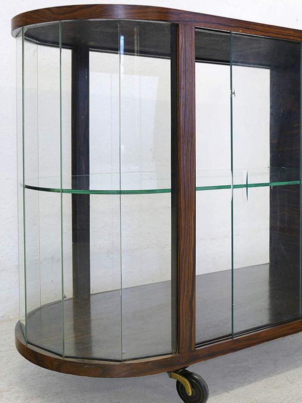 Vitrine Teeschrank Barschrank Art Deco um 1925 Palisander furn. L: 90 cm (8807) – Bild 3