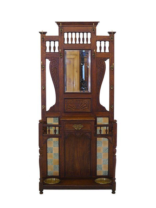 Garderobe Wandgarderobe Flurgarderobe Historismus um 1900 Eiche B: 92 cm (8809) – Bild 1