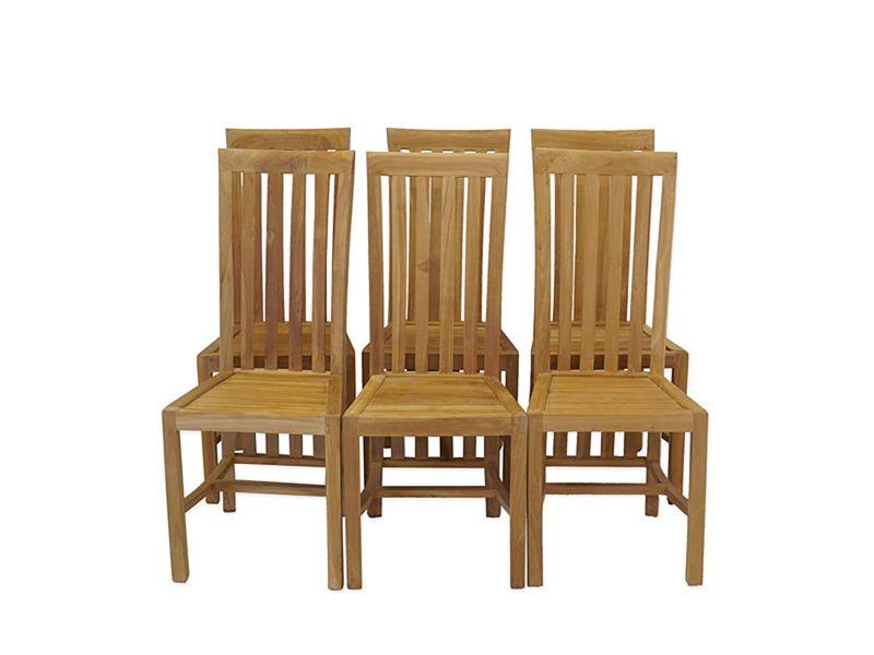 6 Stühle Lehnstühle Holzstühle Sitzgruppe Landhaus Stil Teakholz massiv (8814) – Bild 1