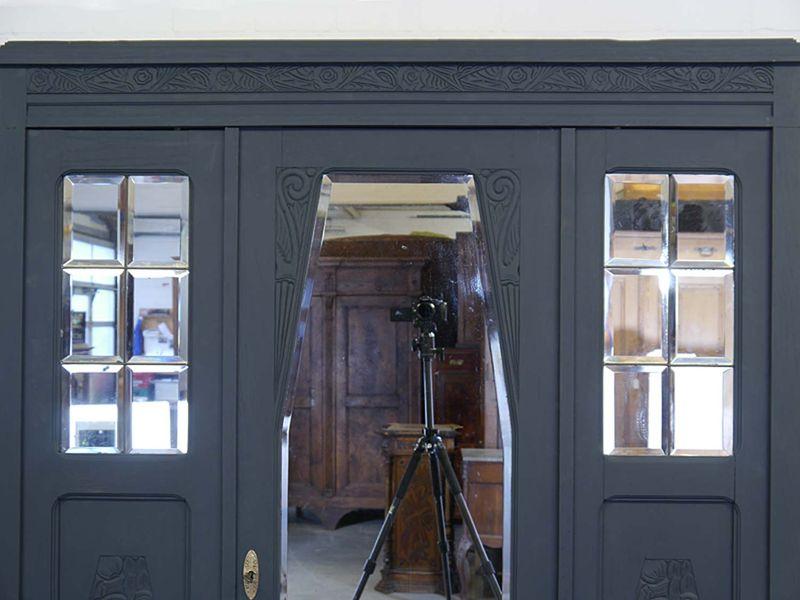 Kleiderschrank Dielenschrank Spiegelschrank Antik anthrazit B: 141 cm (8818) – Bild 3