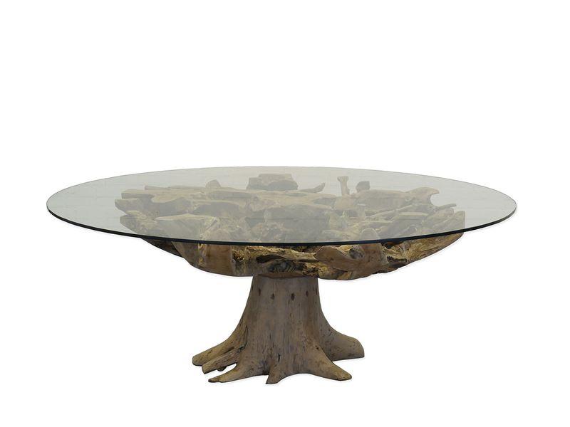 Tisch Esstisch Glastisch Konferenztisch rund mit Wurzelholz D: 200 (8823) – Bild 1