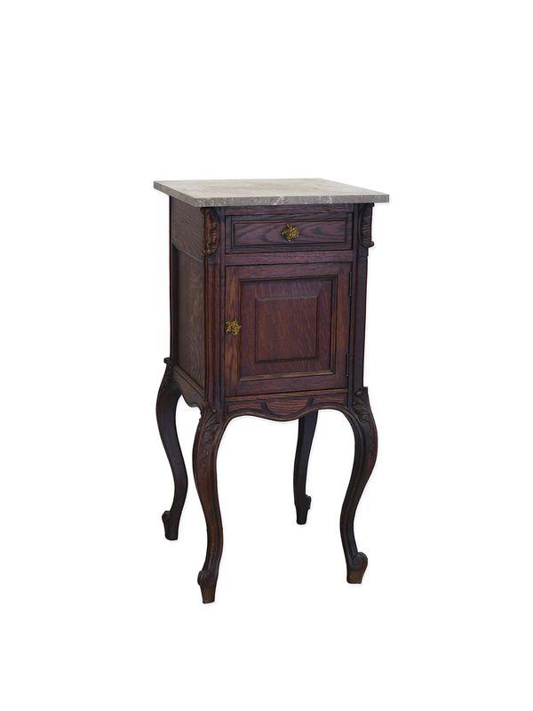 Nachtkonsole Nachtschrank Nachttisch Louis Philippe um 1870 Eiche Marmor (8837) – Bild 1
