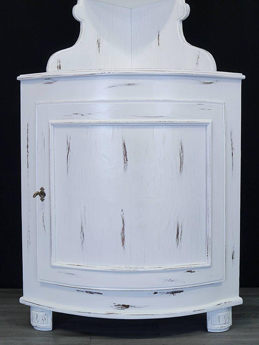 Eckschrank Vintage Eckregal Antik Stil 1-türig Shabby Chic weiß B: 78 cm  (8879)