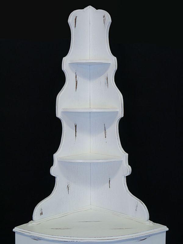 Eckschrank Schrank Eckregal Antik Stil 1-türig Shabby Chic weiß B: 78 cm (8879) – Bild 3