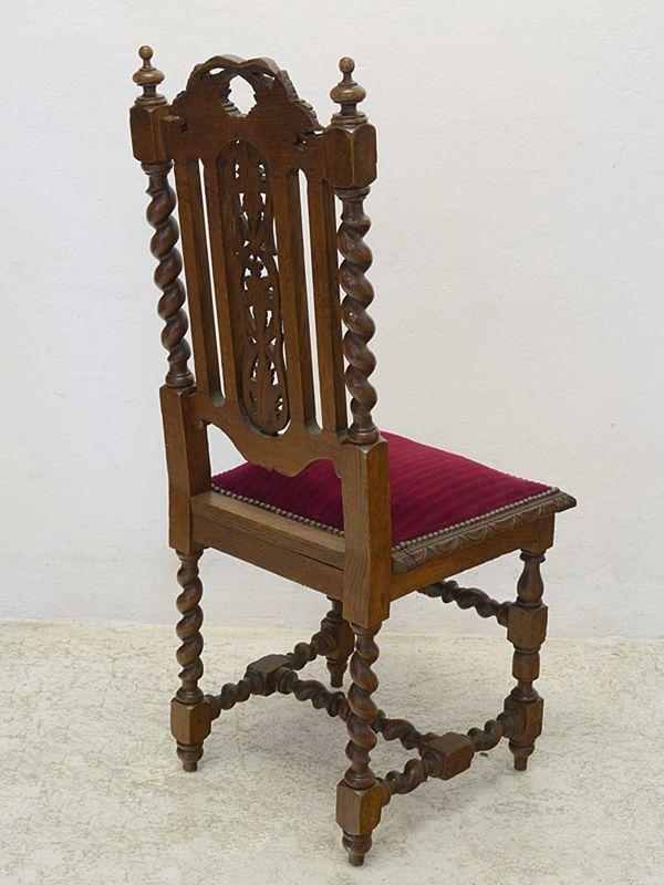 4 Stühle Lehnstühle Gründerzeit um 1880 antik Eiche roter Velourstoff (8884) – Bild 4