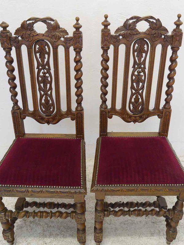4 Stühle Lehnstühle Gründerzeit um 1880 antik Eiche roter Velourstoff (8884) – Bild 2