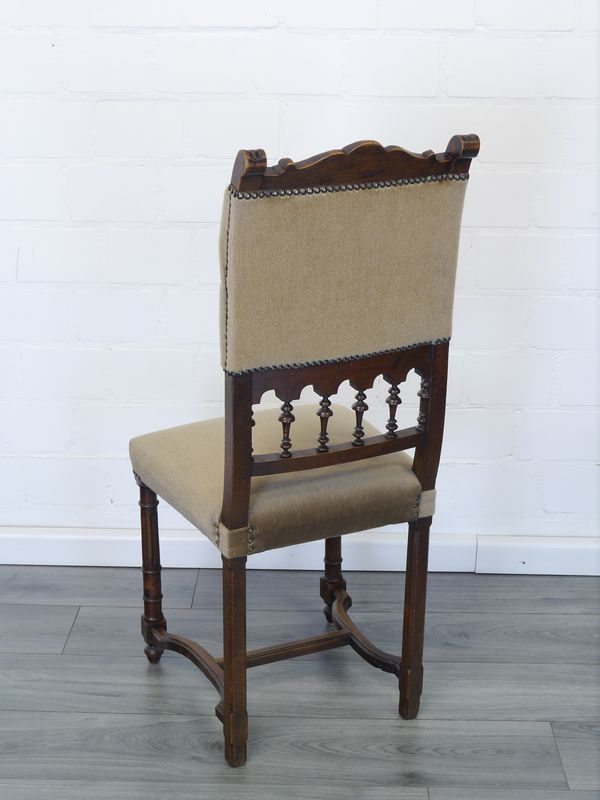 6 Stühle Lehnstühle Antik um 1920 Gründerzeit vermutlich Nussbaum (8894) – Bild 4