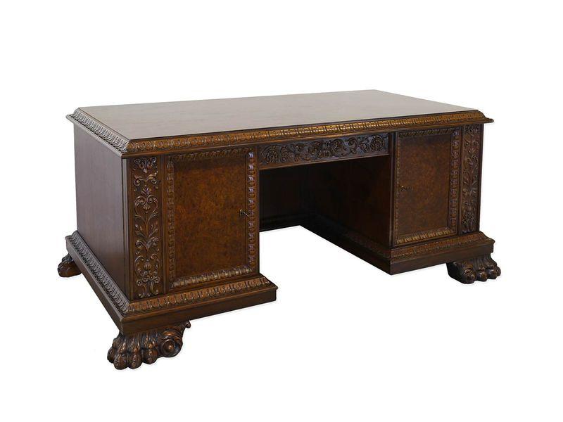 Schreibtisch Büromöbel Schreibmöbel Antik 1930 Nussbaum/Wurzelholz B: 185 (8922) – Bild 1