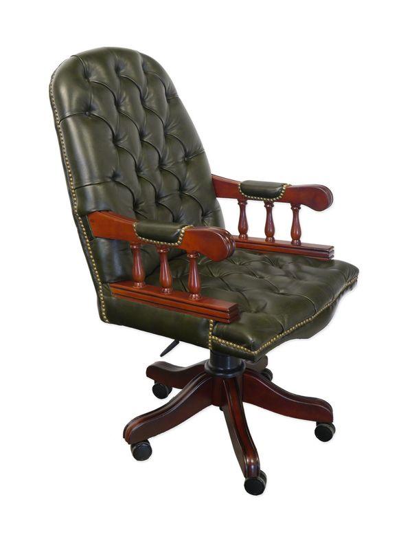 Bürostuhl Chefsessel Bürosessel Chesterfield Design mit grünem Leder (8926) – Bild 1