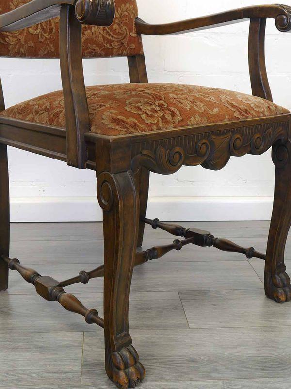 3 Stühle Lehnstühle Antik um 1930 Nussbaum Polsterung mit rötlichen Stoff (8931) – Bild 7