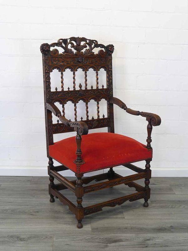 Stuhl Armlehnstuhl Zierstuhl Antik Neo-Renaissance um 1880 aus Nussbaum (8939) – Bild 2