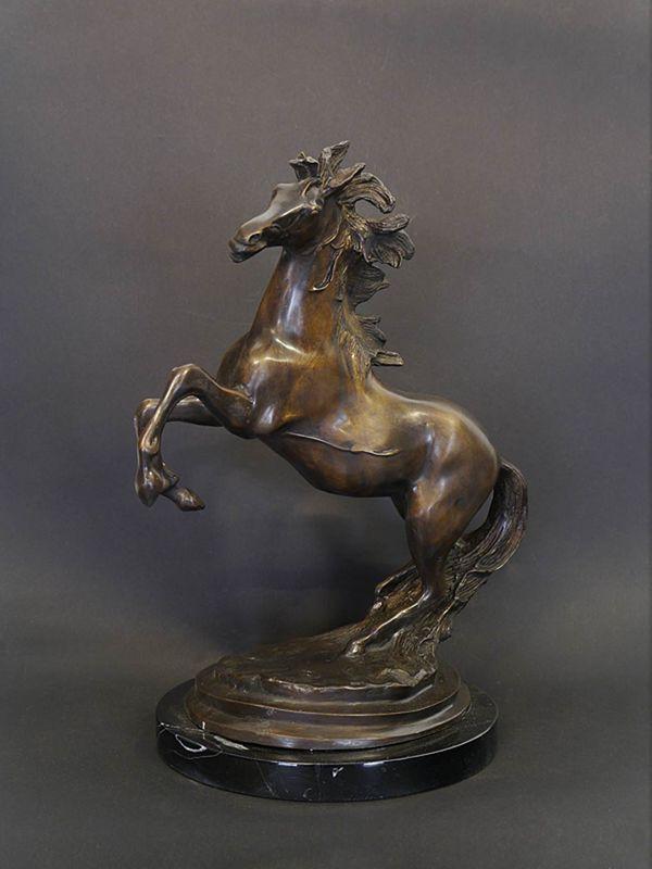 Bronze Figur Skulptur Pferd Hengst auf Marmorsockel dekorativ  H: 42 cm (8943) – Bild 1
