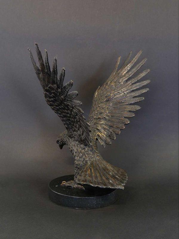 Bronze Figur Skulptur Adler Greifvogel auf Marmorsockel dekorativ H: 33 cm (8944) – Bild 3