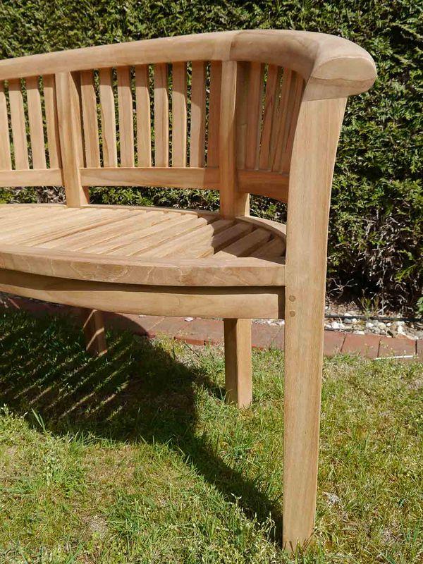 Gartenbank Sitzbank Peanut Bench 2-Sitzer Teakholz unbehandelt B: 161 cm (8957) – Bild 5