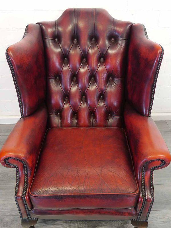 Sessel Ohrensessel mit Hocker Ledersessel im Chesterfield Design in Rot (8966) – Bild 3