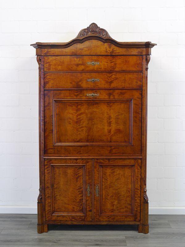 Sekretär Schreibschrank Schreibmöbel Antik um 1870 Birke furniert B: 114 (8971)  – Bild 10