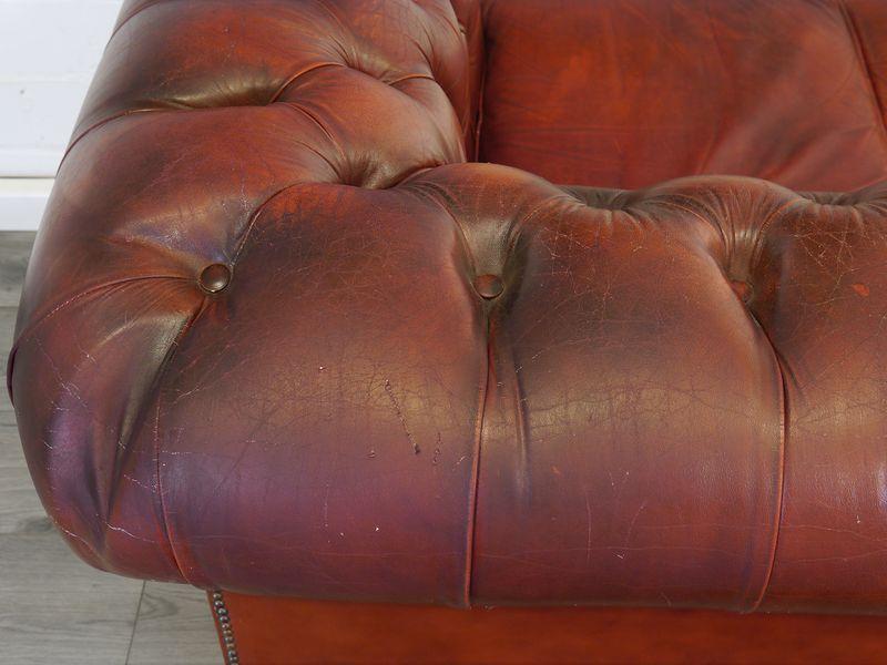 Sofa Couch Ledersofa im Chesterfield Design 3-Sitzer in Rot L: 205 cm (8976) – Bild 4