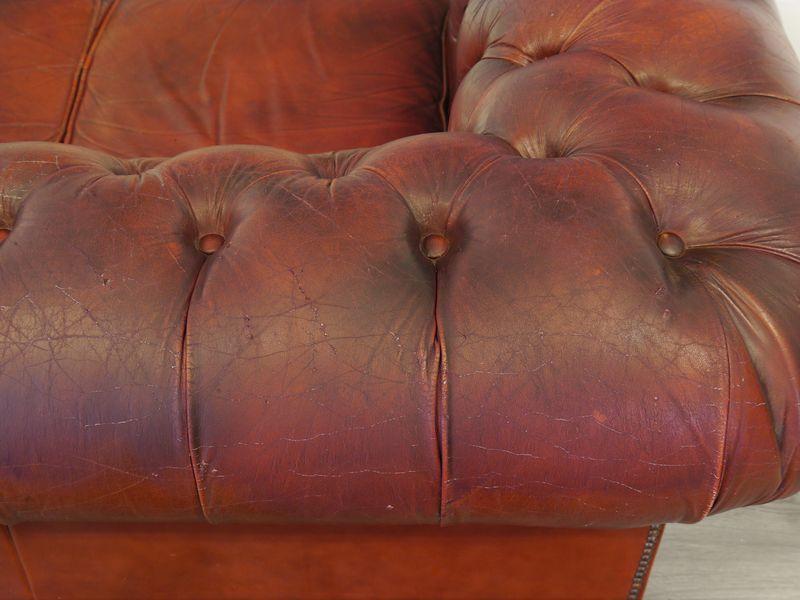Sofa Couch Ledersofa im Chesterfield Design 3-Sitzer in Rot L: 205 cm (8976) – Bild 8