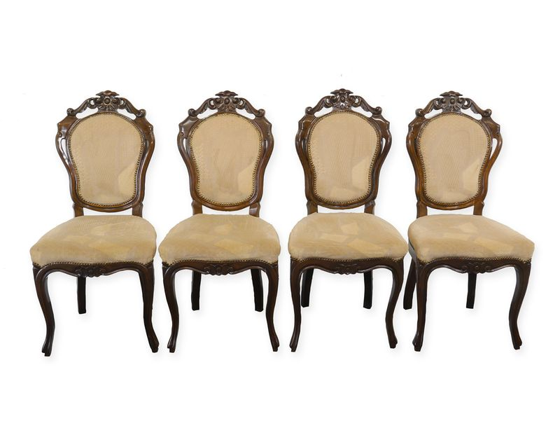 4 Stühle Lehnstühle Sitzmöbel im Rokoko Stil 4-er Set im Nussbaumfarbton (8994) – Bild 1