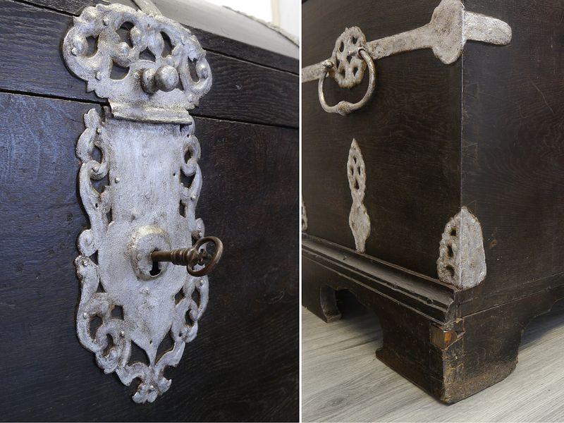 Truhe Runddeckeltruhe Holztruhe aus massiver Eiche 18. Jahrhundert Antik (9004) – Bild 4
