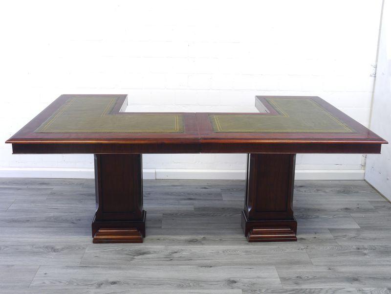 Schreibtisch Bürotisch Empfangstisch engl. Stil Mahagoni Leder B: 205 cm (9130) – Bild 6