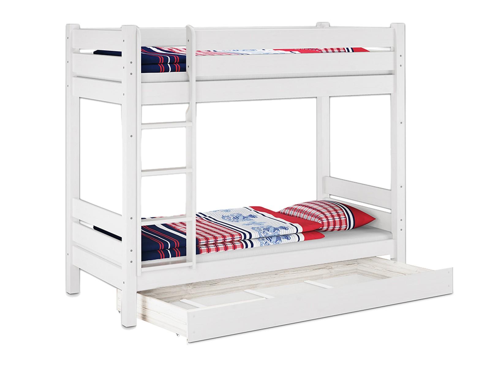 Etagenbett Weiß 90x200 : Hochbett kiefer weiß etagenbett stabil teilbar rollrost