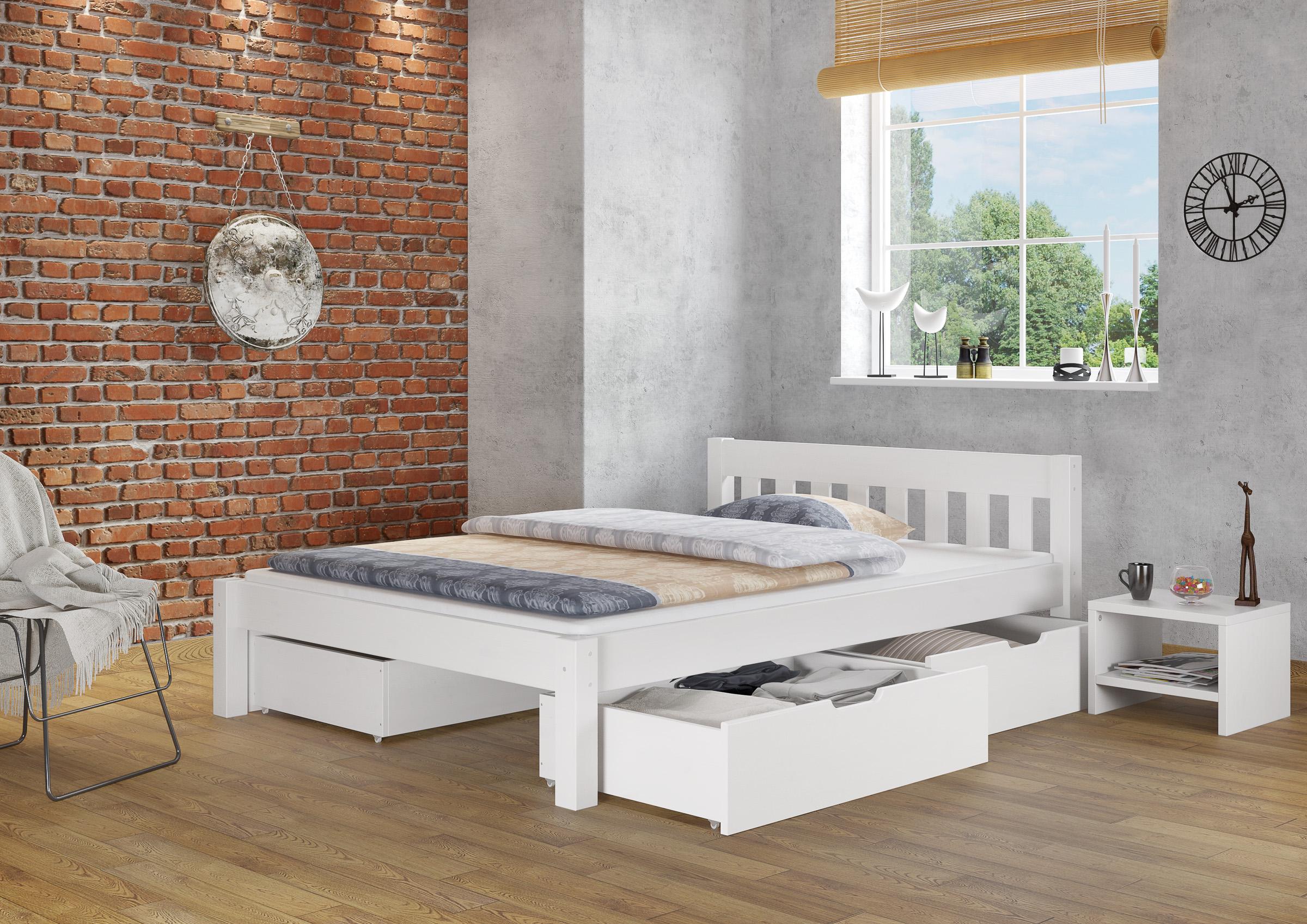 bett bettgestell wei kiefer massiv 140x200 cm futon o. Black Bedroom Furniture Sets. Home Design Ideas