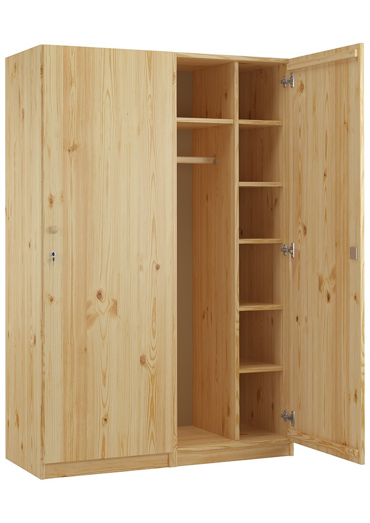 holzschrank spind eint rig kiefer massiv mit vielen f chern und schloss ebay. Black Bedroom Furniture Sets. Home Design Ideas