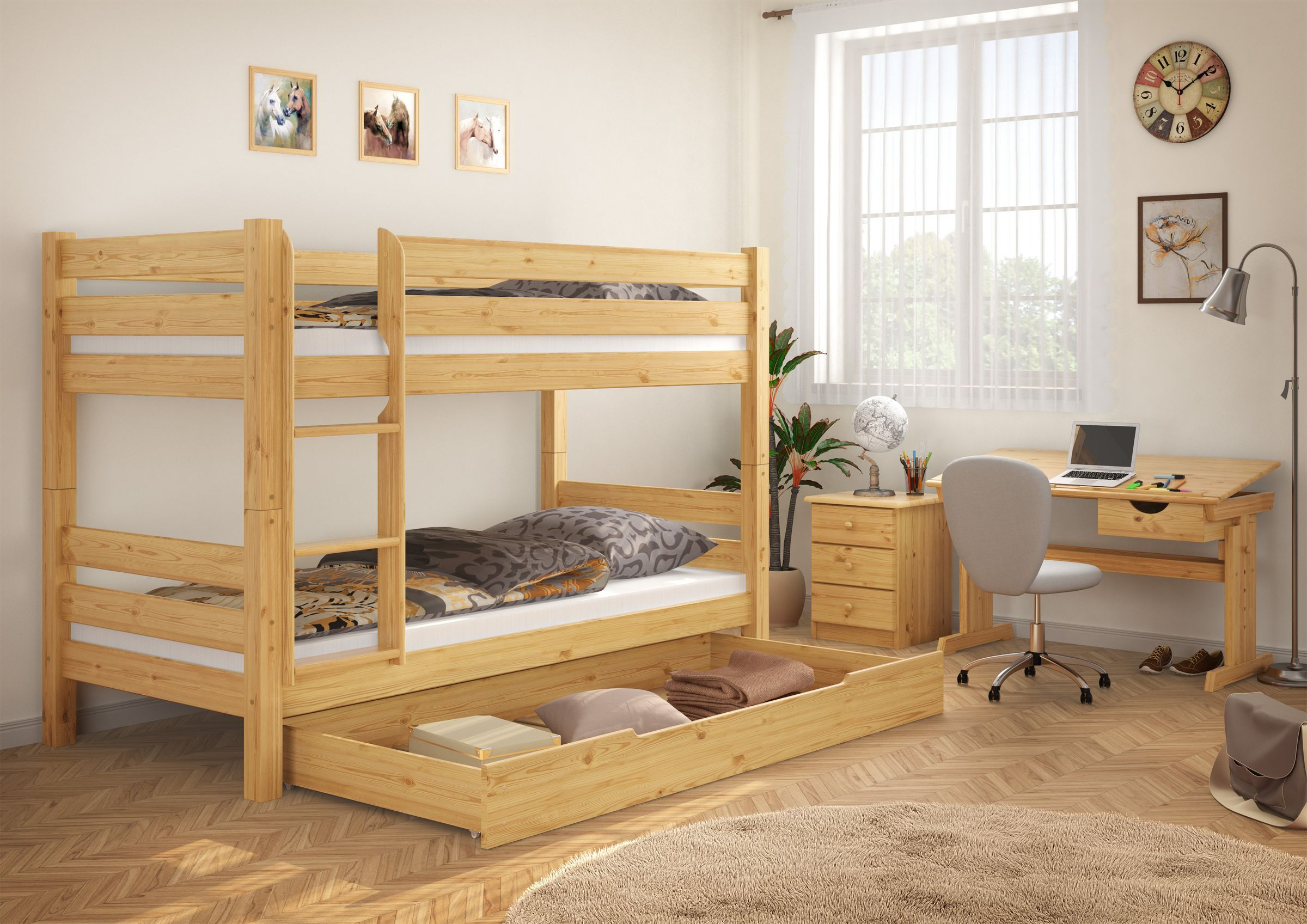 Simple Pine Bunk Bed With Mattresses 90x200 On Rigid Slats 1 Storage Drawers 60 11 09ni100ms1 Ceres Webshop