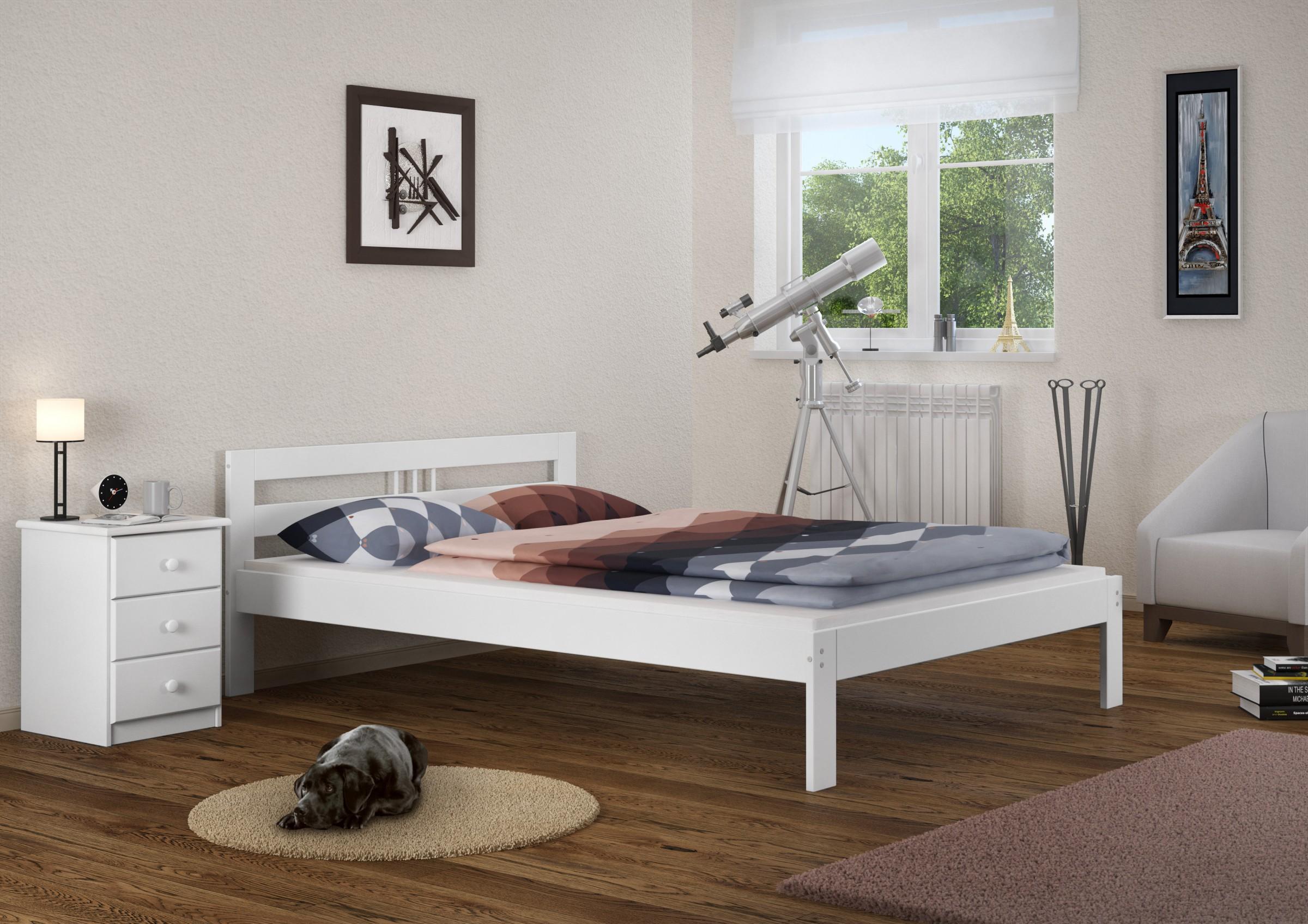 massivholzbett weiss kiefer jugendbett 120x200 futonbett mit rollrost w ebay. Black Bedroom Furniture Sets. Home Design Ideas