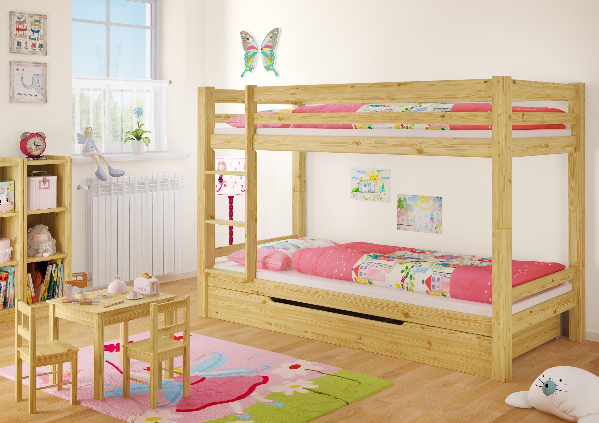kinderstockbett mit bettkasten kiefer matratze 90x200 kinderbett m s1 4250639500983 ebay. Black Bedroom Furniture Sets. Home Design Ideas