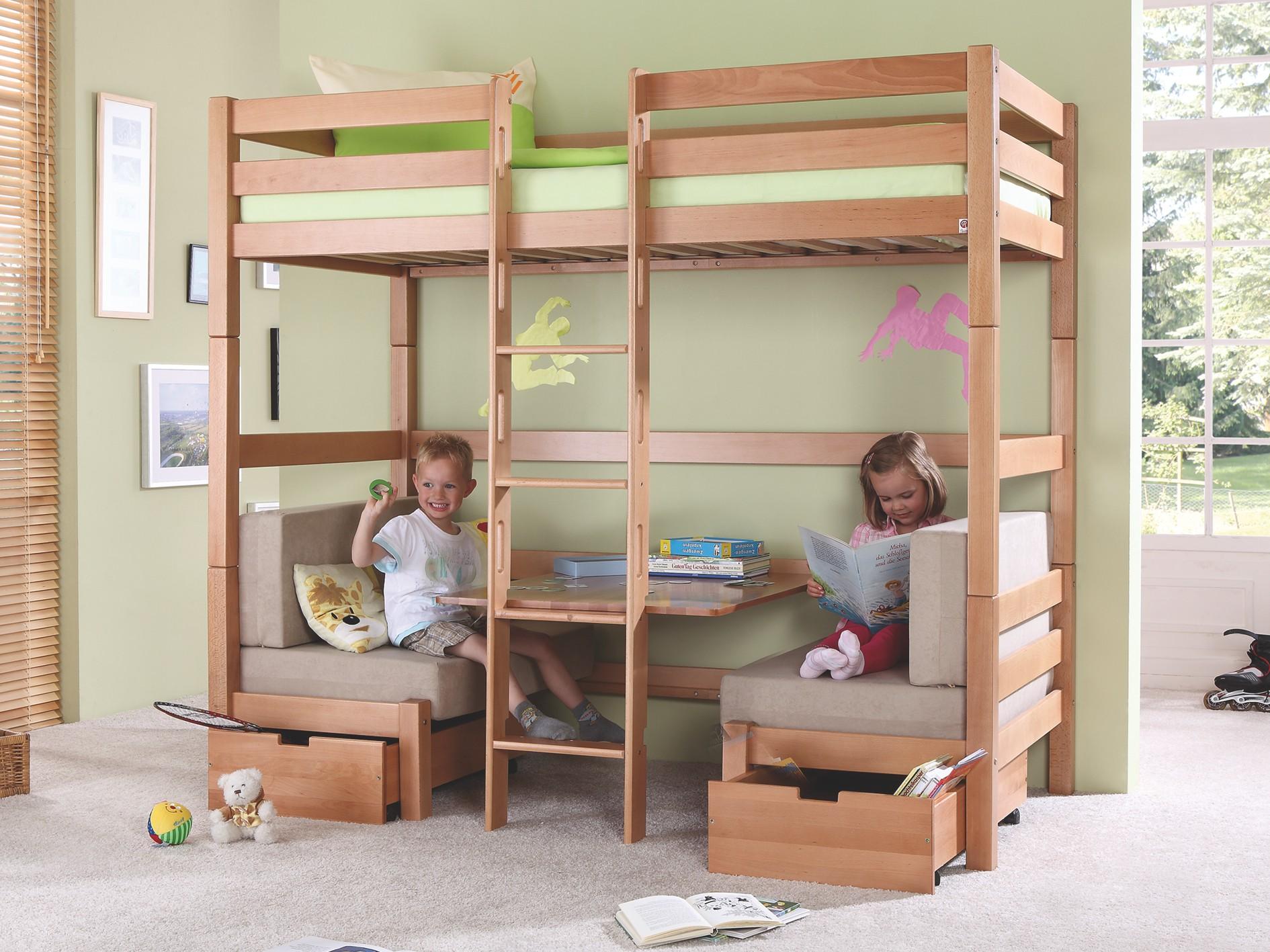 Etagenbett Kinder Buche : Kinder etagenbett mit sitzbänken buche hochbett kinderbett